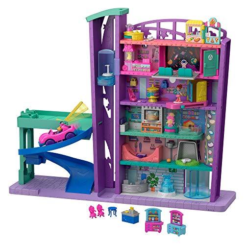 Polly Pocket Mega Mall, Playset Centro Commericale con Due Bambole, Ascensore e Accessori, Giocattolo per Bambini 4+ anni, GFP89