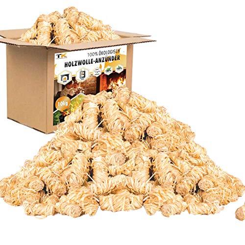 TK THERMALKING Kaminanzünder aus Holzwolle mit Wachs - Ofenanzünder - Anzündwolle für Kamin - Öko Holzanzünder - Feueranzünder - Grillanzünder (10KG)