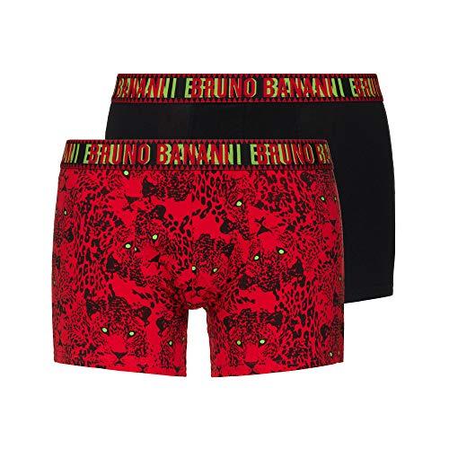 bruno banani Herren Wild Cat Boxershorts, rot/schwarz/Lime Print // schwarz, L