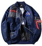 ROSEUNION NASA Chaqueta Ma-1 Impresión Cierre De Cremallera Jacket Sporty Bomber Suelto Casual para Abrigos Espesar Modelos De Pareja (Medium, Azul)