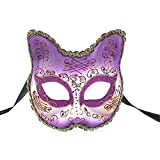 BLEVET Venetian Masquerade Masks for Child Cat Face Party Mask Party/Ball Prom/Mardi Gras/Wedding/Wall Decoration BK010 (Purple)