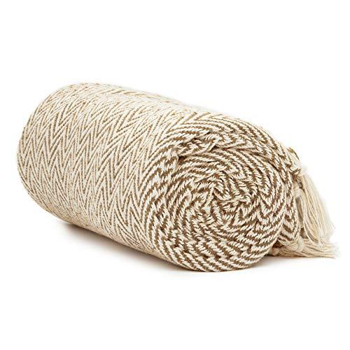 Americanflat Zaina Throw Blanket in Camel and Beige Herringbone - 100 % Cotton with Fringe - 50' x 60'