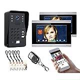 Timbre de video Tuya Wifi, sistema de videoportero de 7 pulgadas, intercomunicador, cámara de visión nocturna + 2 monitores, desbloqueo de APP remota de contraseña de huella digital