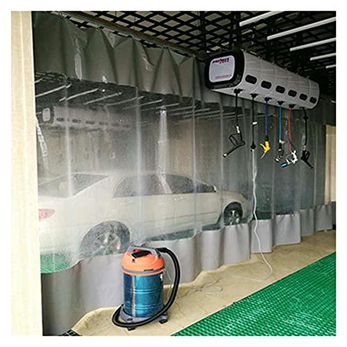 XXIOJUN Cortina Corrediza Transparente Resistente, Cortina De Partición De Lavado De Autos PVC Impermeable Grande Anti-desgarro Ojo De Metal para Fábricas, Lavaderos De Autos