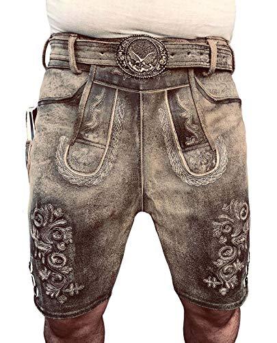 Royal Oktoberfest Lederhose bayerische Lederhose Herren Kurz Lederhosen Vintage Trachtenlederhose inkl. Trachtengürtel Gr 46-64 (52)