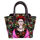 Rivets - Bolso de piel para mujer, con asa superior, para ir de compras, trabajo, campus y tapiz mexicano, color negro