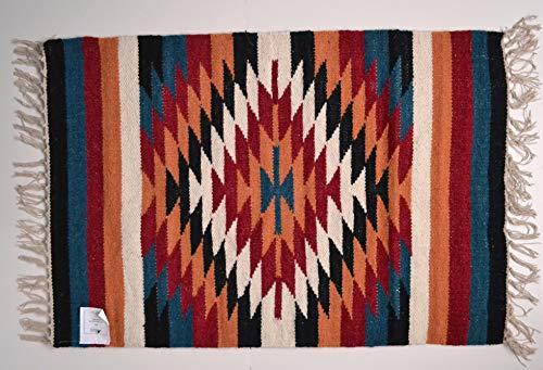 Designs Emporium Kelim-Teppich, Wolle, indisch, handgeknüpft, Diamant-Harlekin, 60 x 90 cm, marokkanisches Orange