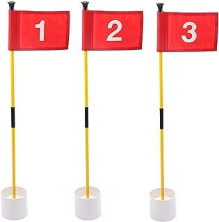 KINGTOP Golf Flagsticks Mini, Putting Green Flags for Yard, All 3 Feet, Golf Pin Flags Hole Cup Set, Portable 2-Section Design