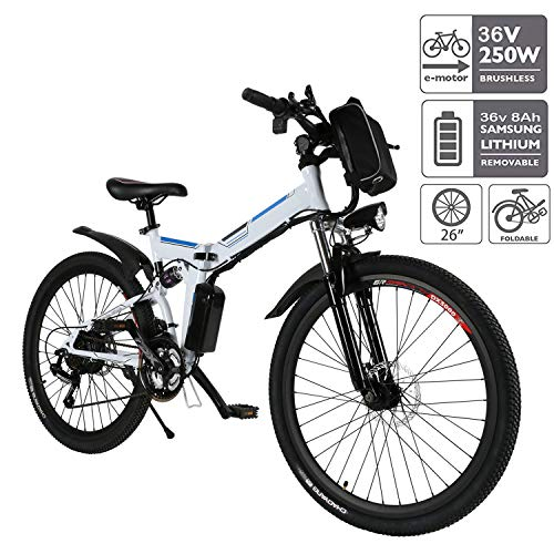 Aceshin 26'' Folding Electric Mountain Bicycle with Removable Large Capacity Lithium-Ion Battery (36V 250W), Electric Bike 21 Speed Gear and Three Working Modes (White)
