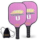 Pickleball Set, Pickleball Paddles, Pickleball Paddle Set of Two, New Pickle U Pickelball Paddle with Junior Tennis Bag as Pickleball Gifts for Women Men Beach Ball Game Outdoor