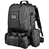 NOOLA Tactical Military Backpack Army Assault Pack Molle Bag Detachable Rucksack Black with Patch