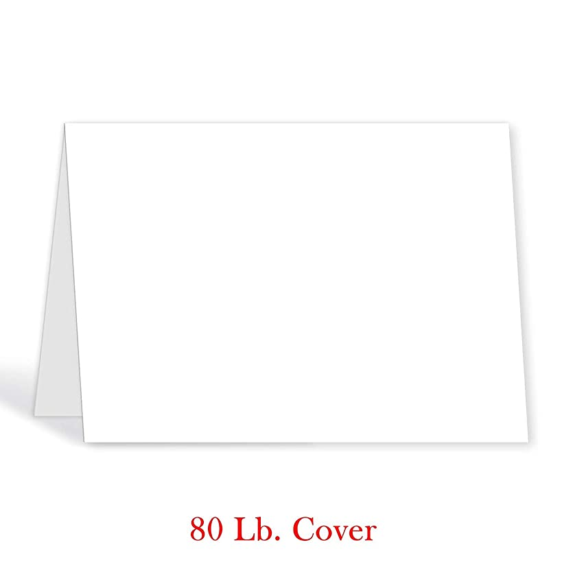 Half Fold 5 X 7 Heavyweight White Greeting Cards - 50 Cards - Superfine Inc. Brand