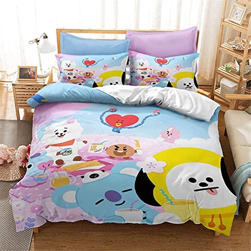 BTS - Juego de ropa de cama con funda de almohada, 100% microfibra, impresión digital 3D Bangtan Boys funda de edredón general para niños y adultos (9, individual 135 x 200 cm)