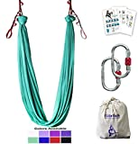 Aerial Yoga Hammock 5.5 Yards Premium Aerial Silk Fabric Yoga Swing for Antigravity Yoga Inversion Include Daisy Chain,Carabiner and Pose Guide (Turquoise)