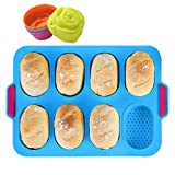 KeepingcooX® Mini Baguette Baking Tray, 34x24 cm, Non-Stick Perforated Pan   Bread Crisping Tray, Loaf Baking Mould, French Bread, Breadstick Bread Rolls with Delicious Crispy Crusts, Plus Rose Molds