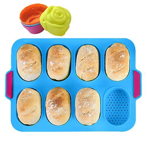 KeepingcooX® Mini-Baguette-Backblech, 34 x 24 cm, Antihaft-Lochblech   Brot Crisping Tray, Laib Backform, French-Bread mit köstlichen knusprigen Krusten, mit 4 Rosenformen, Blau