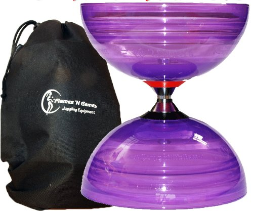 Sundia Shining Triple Roulement Pro Diabolo (Violet) +Flames N Games Sac de Transport. *Le Ultime roulement à Billes Diabolo.