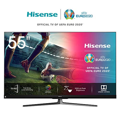 Hisense 55U8QF 139cm (55 Zoll) Fernseher (4K Ultra Premium HD, Quantum Dot, HDR10+, Dolby Vision&Atmos, WCG, Full Array Local Dimming, 120Hz Panel, USB-Recording, JBL sound) [Modelljahr 2020]