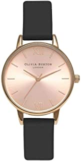 Bevilles Olivia Burton Midi Dial Black and Rose Gold Watch OB15MD39 Leather 3 Hands 5060403431776