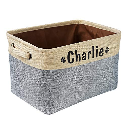 PET ARTIST Collapsible Dog Toy Storage Basket Bin with Personalized Pet's Name - Rectangular Storage Box Chest Organizer for Dog Toys,Dog Coats,Dog Clothing,Dog Apparel & Accessories,Gray