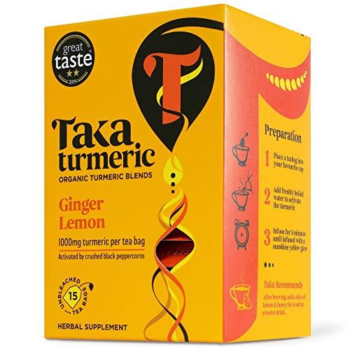 Taka Turmeric Tea, Organic Ginger Lemon, Individually Wrapped Turmeric Tea Bags, High Dose of Turmeric, Certified Organic by Soil Association (1 x Carton (15 Tea Bags))
