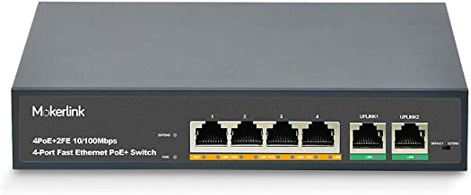 MokerLink 4 Port PoE Switch with 2 Uplink Ethernet Port, 78W High Power, Support IEEE802.3af/at, Fanless Metal Plug & Play PoE+