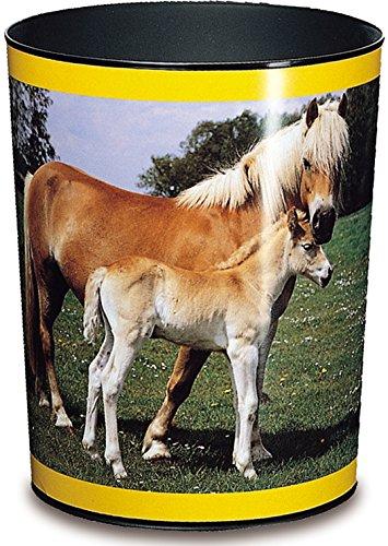 Läufer 26557 Papierkorb Pferd und Fohlen, 13 Liter Mülleimer, perfekt für das Kinderzimmer, rund, stabiler Kunststoff, verschiedene Motive