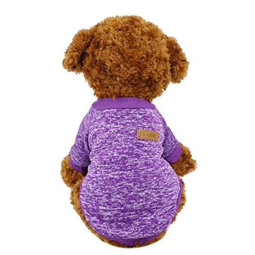 Idepet Pet Dog Classic Knitwear Sweater,Soft Fleece Coat for Small,Medium,Large Dog,Warm Pet Dog Cat Clothes,Soft Puppy Customes 2 Color (S, Purple)