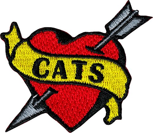 Cats Banner on Heart with Arrow - Tattoo Flash Style - Embroidered Iron On or Sew On Patch