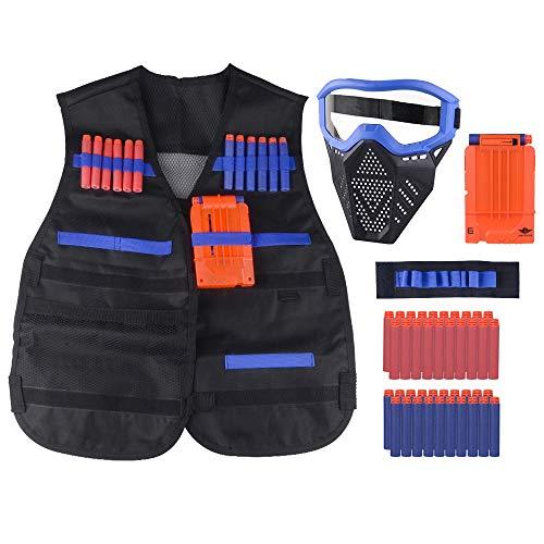 OFUN Táctico para Niños 44pcs, Chaleco táctico para niños para Pistolas Nerf N-Strike Elite con 40 Piezas de Balas de Dardos + 1 máscara + 1 Clips de liberación rápida + 1 Pulsera