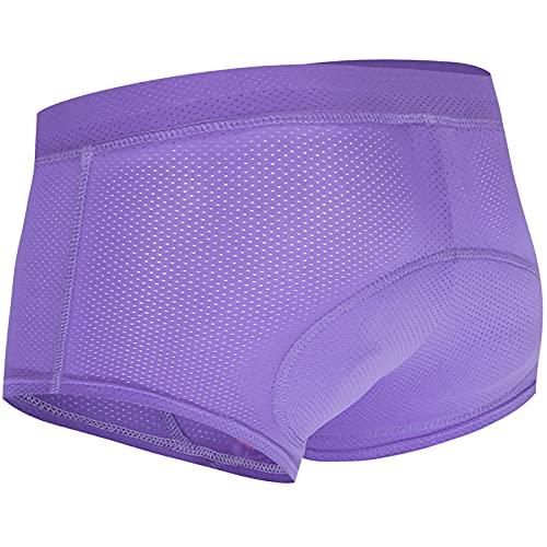 Ropa Interior de Ciclismo Mujer Pantalones Cortos de Bicicleta Gel Acolchado 3D Damas Ligero Transpirable MTB Bicicleta Leggings Cortos sin Costuras de Secado Rápido,Púrpura,M