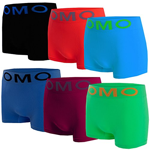 Bongual Herren Boxershorts Jungen Teens Unterhosen Retroshorts Microfaser Neonfarben (L, 6xUnifarben)
