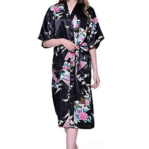 Junjie Damen Bademantel Simulation Pfau Kimono Spitze Elegante Sommer Lange ÄRmel Lange Pyjamas Japanische Robe Kleid Top