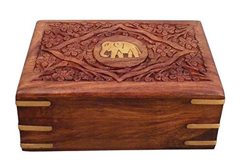 IndiaBigShop Wunderschöne Hand Geschnitzte Sheesham Holz Trinket Schmuckschatulle mit Elefant inspiriert Messing Inlay & Samt Interieur Geschenkideen 7 X 5 Zoll