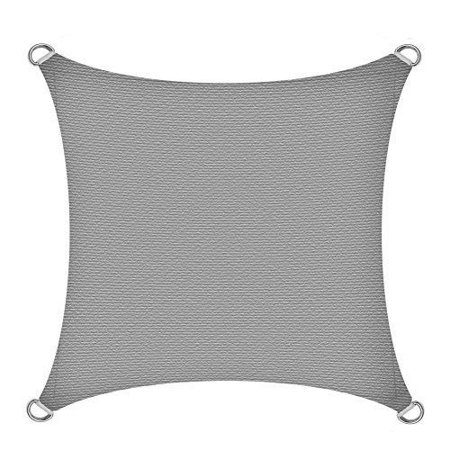 IHD Sonnensegel Sonnenschutzsegel Sonnenschutz UV-Schutz Schattenspender Sonnendach Sichtschutz Segel Grau 3x3m (Quadrat)