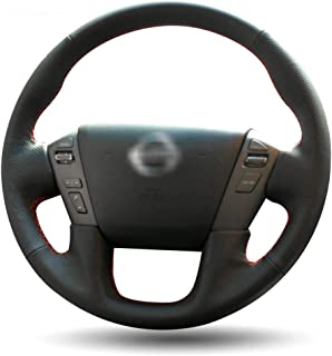 LUOERPI Cubierta del Volante Leathe, para Nissan Patrol 2011-2017, para Infiniti QX80