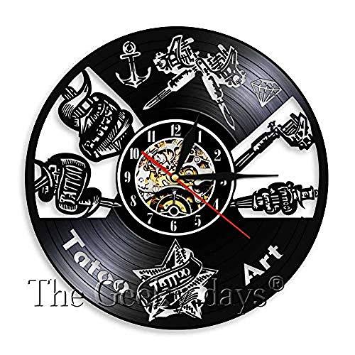 TPFEIReloj de Pared de Disco de Vinilo Old School Reloj de Registro de Vinilo Tatuaje Decoración de Pared Decoración de Arte de la Vieja Escuela Reloj de Pared Tattoo Master C