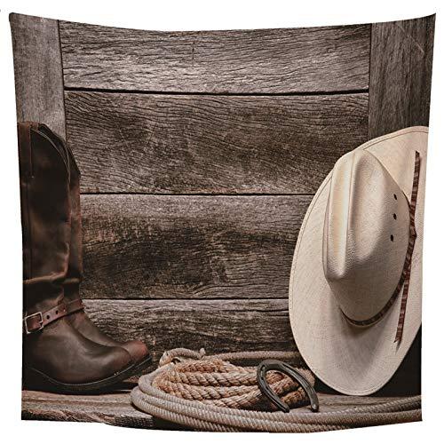 ANAZOZ Tapisserie Wandteppiche Hut & Planke Tapestry Wandtuch Wandbehang Polyester Überwurf Oder Tagesdecke Beigebraun für Schlafzimmer 300X260Cm