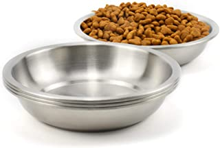 Lakerwin 18/8 Stainless Steel Cat Dish, Whisker Fatigue Free Cat Food and Water Bowl, Wide and Shallow Pet Dishes for Cat,...