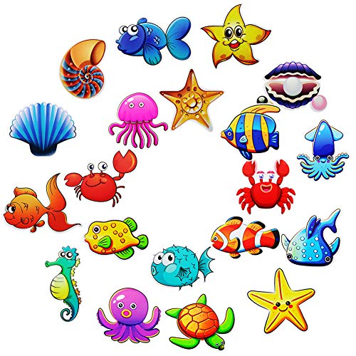 Hangnuo 20 Set Baby Bathtub Sea Creatures Stickers, Under The Sea Decal Treads, Adhesive Shower Safety Appliques for Kids Bath Tub