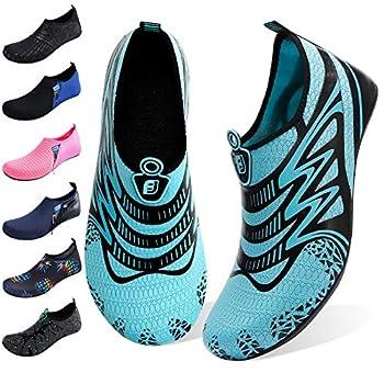 JOINFREE Women s Men s Water Footwear Quick-Dry Water Sports Beach Swim Shoes Barefoot Aqua Blue Ripple Medium