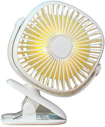 Mini ventilador eléctrico Pequeño ventilador de mesa ventilador ventilador eléctrico USB3 velocidad de 360 ° oficina grande viento giratorio Mini portátil de la noche la luz recargable /, Color: Bla