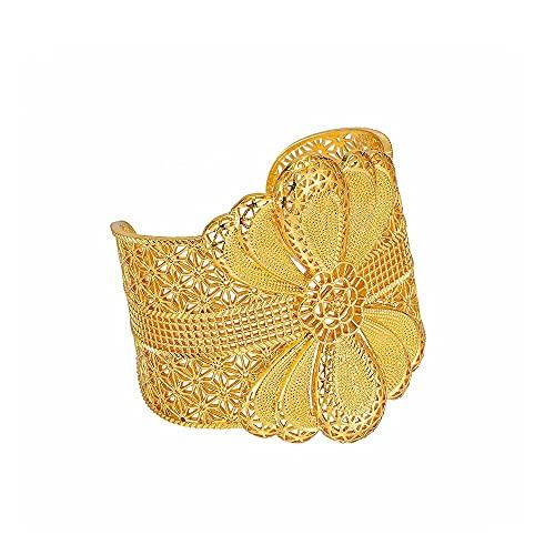 XiaoG Lujo Dubai Amplio Brazalete para Mujeres Hombres Color Oro Pulseras Africanas India Joyería Boda Nupcial (Color : Gold)