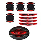 8pcs Universal 3D Carbon Fiber Car Door Handle Paint Scratch Protector Sticker Auto Door Handle Scratch Cover Guard Protective Film Car Outdoor Safety Reflective Strips (Red)