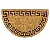 OLIVO.shop | WISH GRECA - Zerbino per ingresso in cocco naturale e gomma antiscivolo, a mezzaluna con stampa in acrilico - 45x75 cm (Marrone)