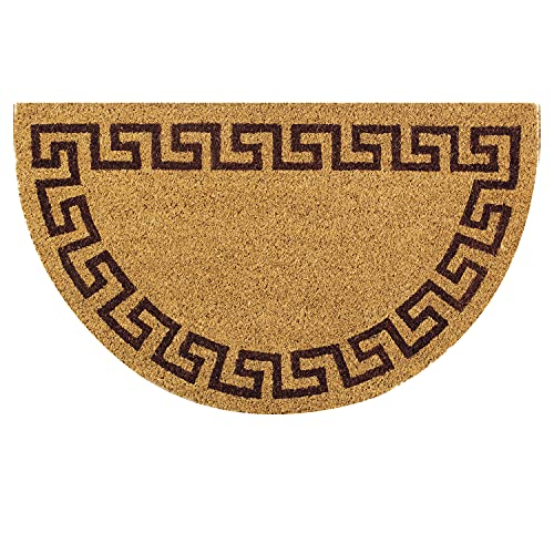 OLIVO.shop   WISH GRECA - Zerbino per ingresso in cocco naturale e gomma antiscivolo, a mezzaluna con stampa in acrilico - 45x75 cm (Marrone)