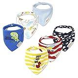 Txian 6 baberos bandana para bebés, niñas, niños, 100% algodón, baberos de...