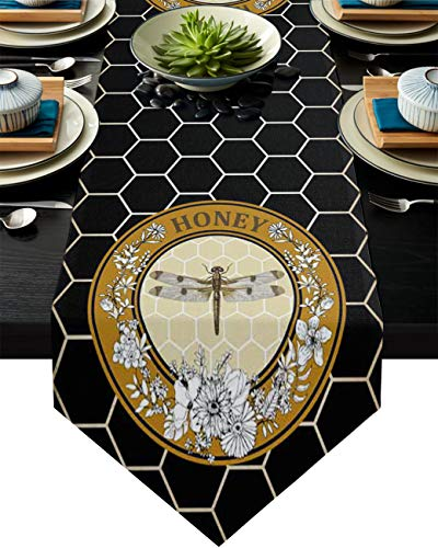 Infinidesign Daisy Flower Table Runner, Cotton Table Runners Dining Table Home Decorations for Indoor and Outdoor Gatherings 16x72inch Honeycomb Black Round Retro Dragonfly