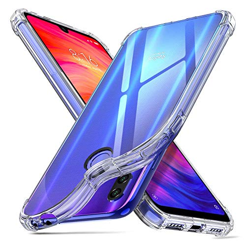 ORNARTO Hülle für Redmi Note7, Transparent Soft TPU Silikon Handyhülle Vier Ecke Kante Stoßdämpfung Design Kratzfest Durchsichtige Schutzhülle für Xiaomi Redmi Note 7(2019) 6,3 Zoll Klar