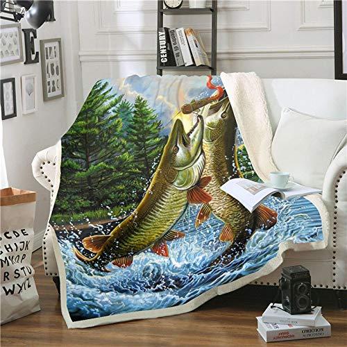 Manta de sofá de felpa de impresión 3D Pesca río carpa 180x150cm/70x59 pulgada Manta de paño grueso y suave para ropa de cama, manta de felpa súper suave de un lado, cálida y gruesa para niños, microf